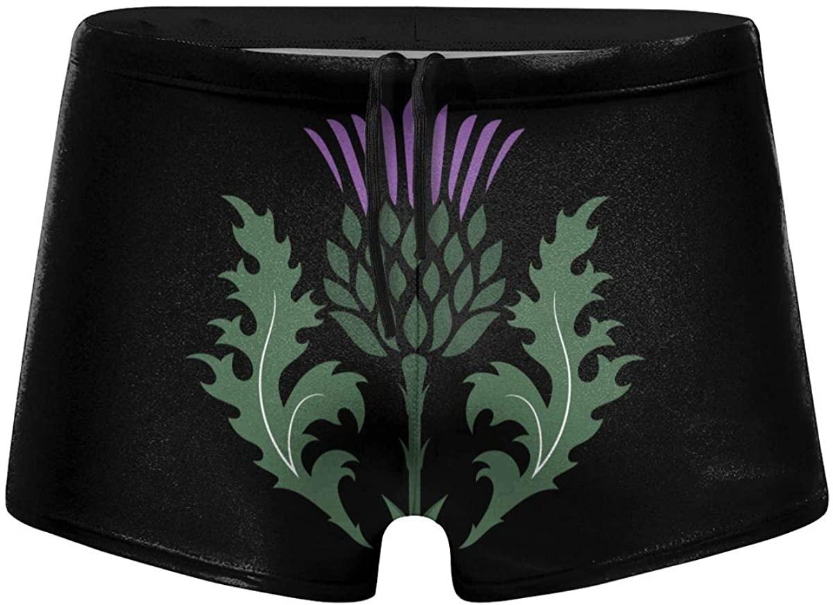 Scottish Thistle Isolated Mens Swimming Trunks Boxer Shorts Simple Tight Shorts Swimwear Black