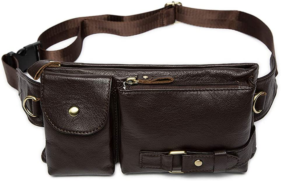Men's Genuine Leather Waist Pack Fanny Bag Crossbody Bag for Sports Hiking Travel (Coffee)