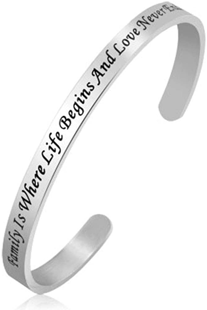 Jesse Ortega Adjustable Cuff Bangle Bracelet Engraved Inspirational Letter Stainless Steel Jewelry