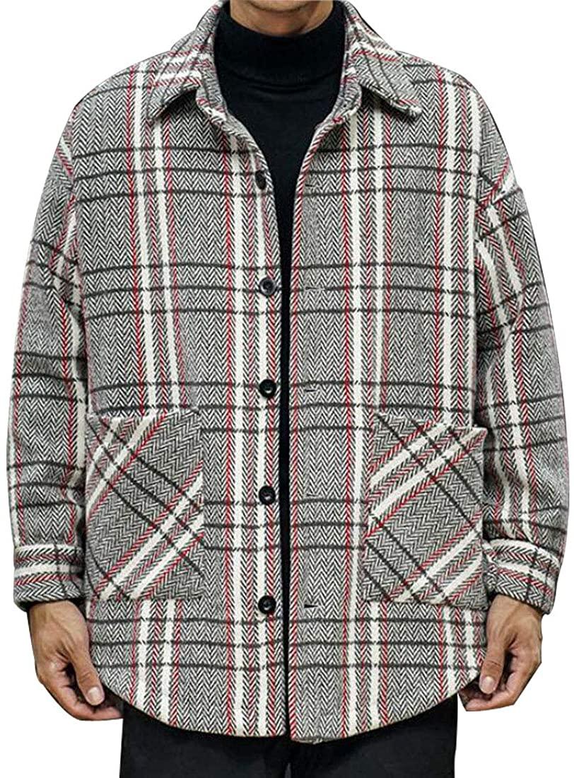 HZCX FASHION Men's Button Plaid Wool Blends Heavyweight Shirt Jacket with Pocket