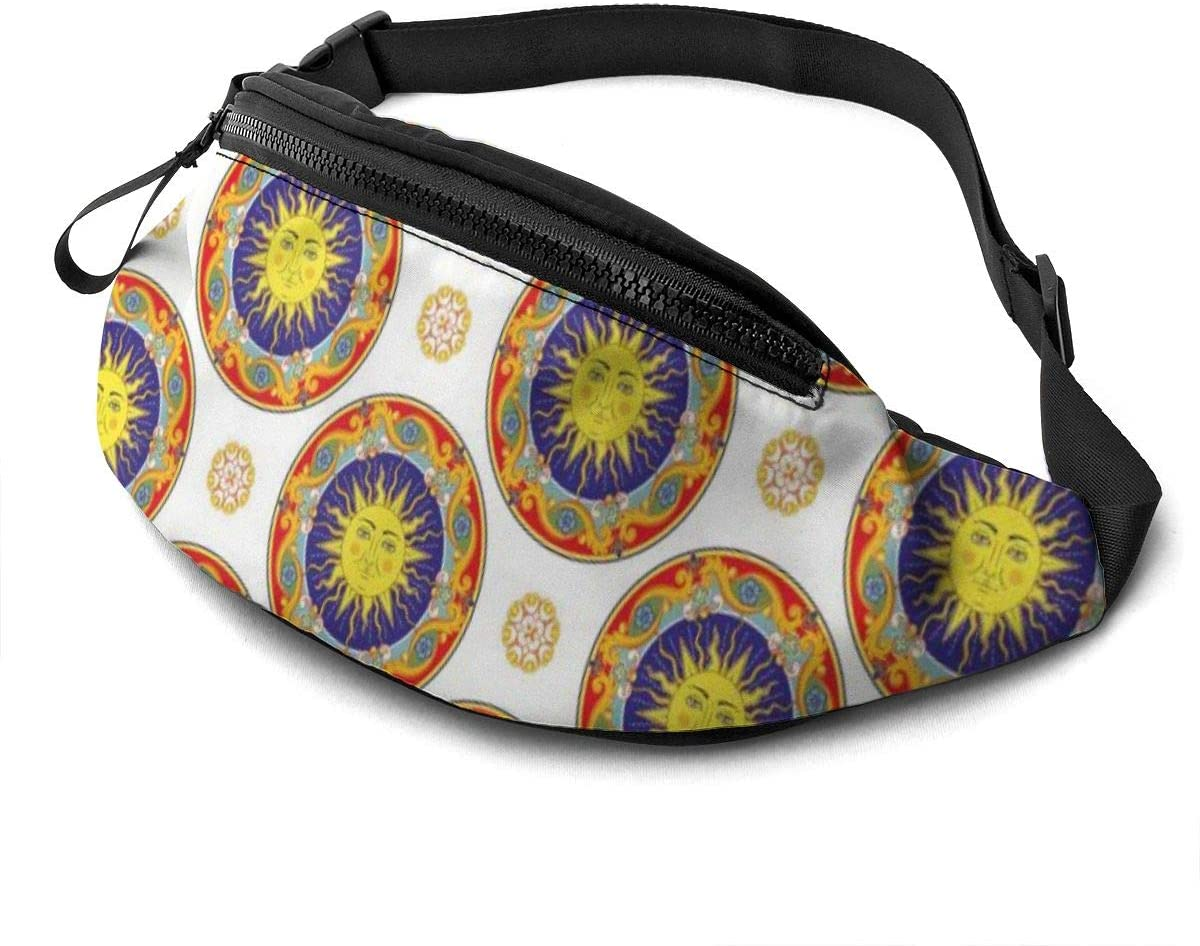 Seamless Pattern From The Yellow Sun Fanny Pack for Men Women Waist Pack Bag with Headphone Jack and Zipper Pockets Adjustable Straps