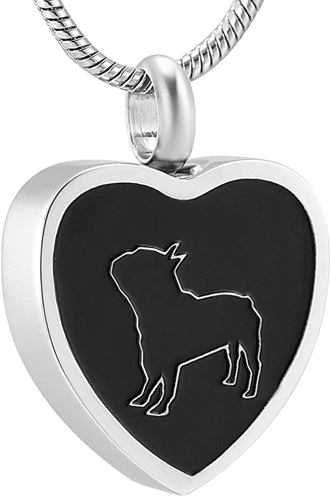 Bulldog Urn Necklace for Ashes -Cremation Jewelry Memorial Keepsake Pendant - Funnel Kit Included