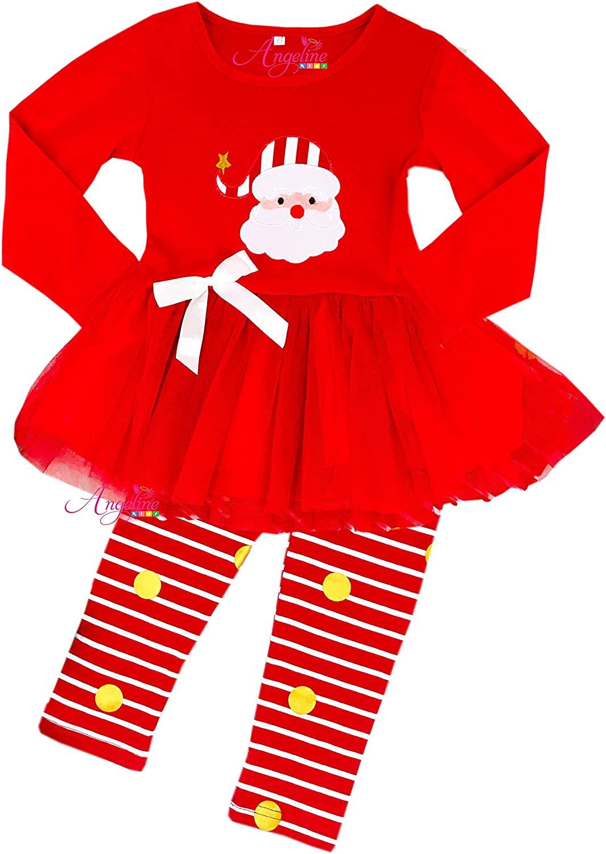 Angeline Boutique Clothing Girls Christmas Santa Tutu Skirt Set 7/2XL