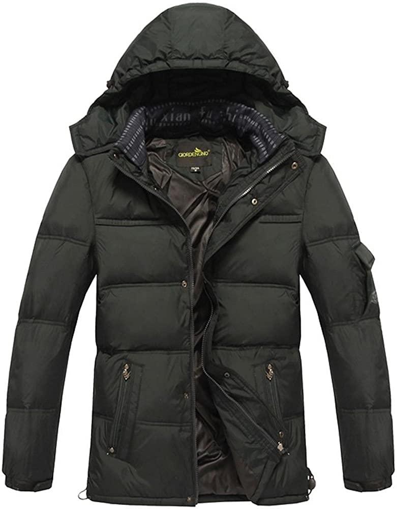 fashciaga Mens Warm Hooded White Duck Down Coats