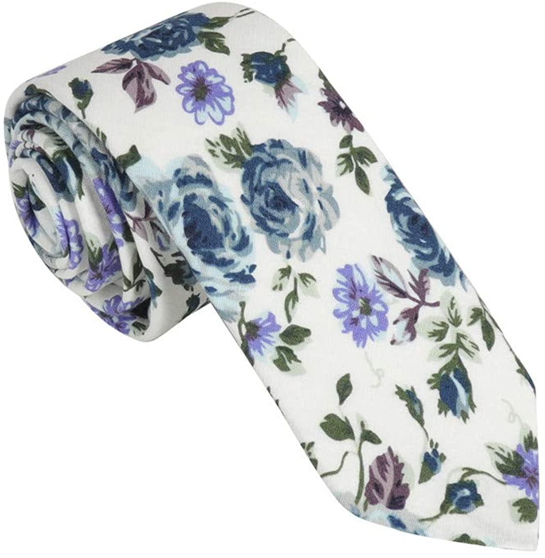 Dan Smith Mens Fashion Cotton Skinny Tie 2.5 Printed Floral Ties