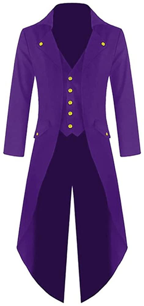 Makkrom Mens Steampunk Gothic Jacket Victorian Tailcoat Vintage Halloween Costume Tuxedo Coat Uniform