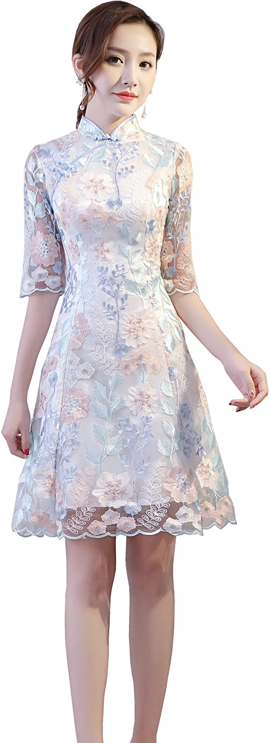 Shanghai Story Knee Length Qipao Floral Embroidery Lace Chinese Cheongsam Dress
