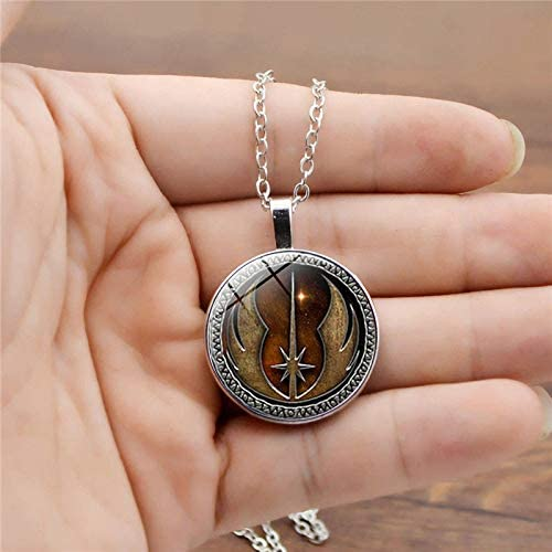 New Star Wars Necklace Vintage Punk Jedi Order Necklace Inspired Jewelry for Men Glass Dome Pendant Necklaces for Women Gift