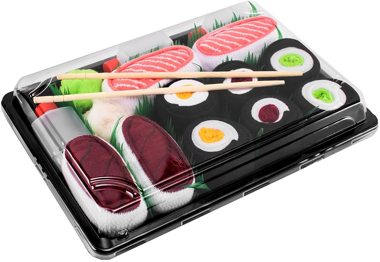 Rainbow Socks - Men's Women's - Sushi Socks Box Salmon Tuna Maki Oshinko - 5 Pairs
