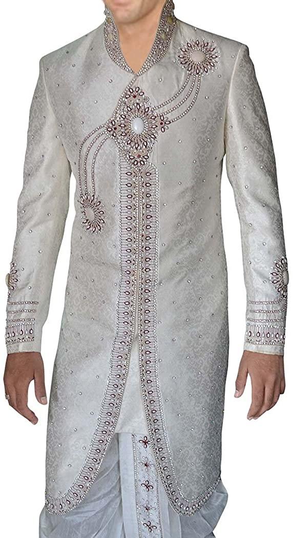INMONARCH Mens IndianSuit Cream Western Attire Groom Sherwani SH0259XL46 46 X-Long Cream