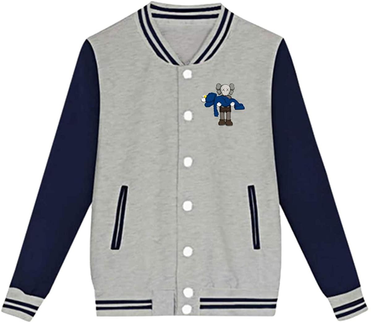 AHUAHUA KAWS Unisex Youth Boys and Girls Sweatshirt Baseball Uniform Jacket Sport Coat