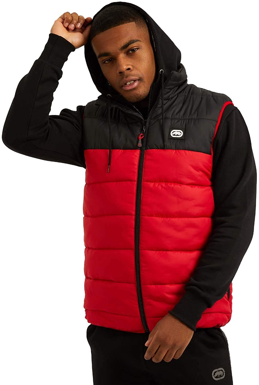 Ecko Mens Sports Padded Puffer Gilet Jacket, Black Red