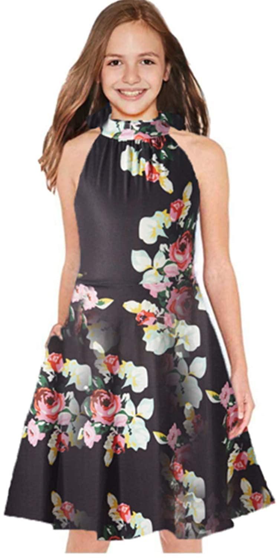 HMBEIXYP Girls Halter Neck Sleeveless Summer Casual Sundress A-line Dress with Pockets