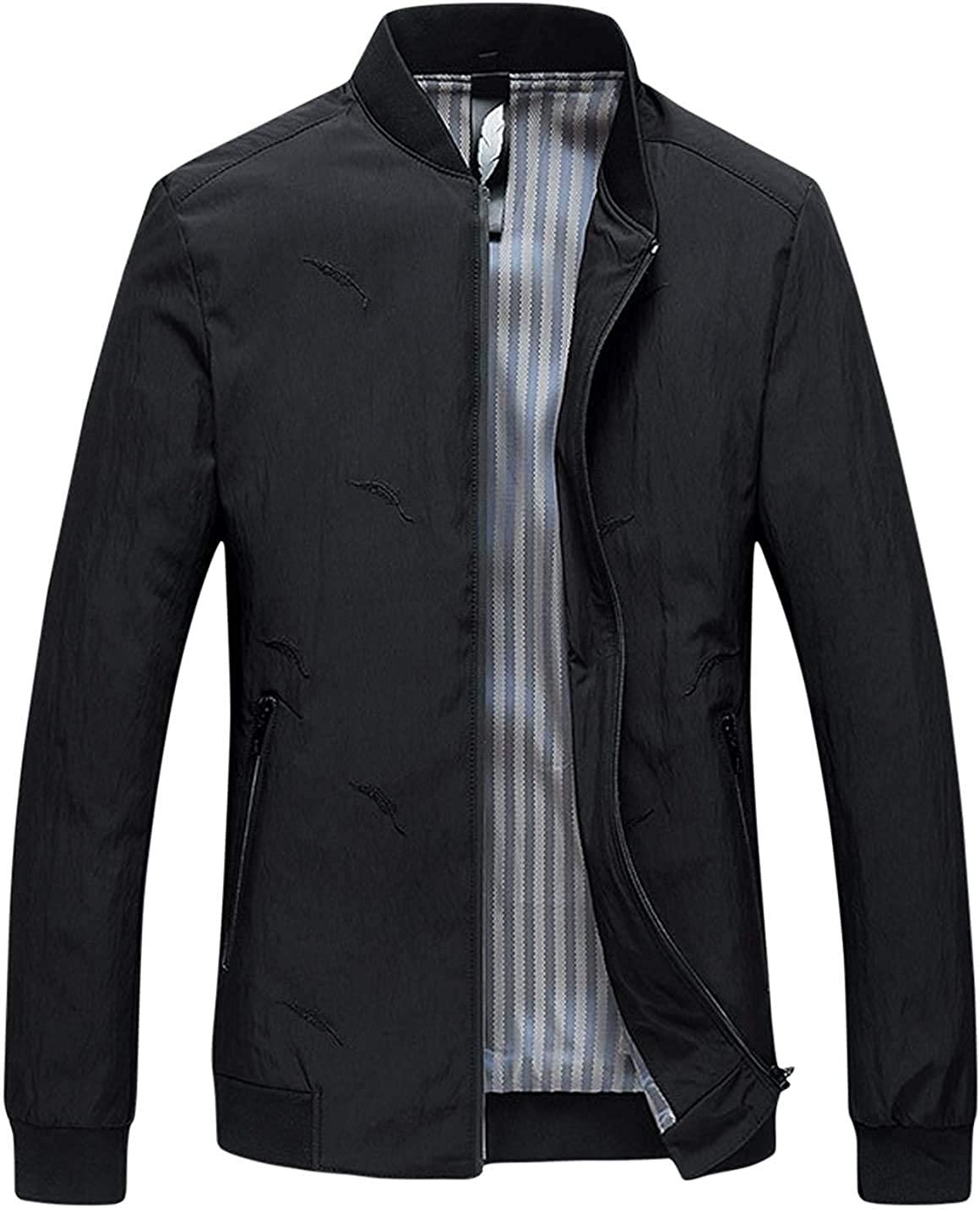 Gsdgjgg Men's Fashion Rib Collar Zipper Embroidered Outerwear Baseball Jackets