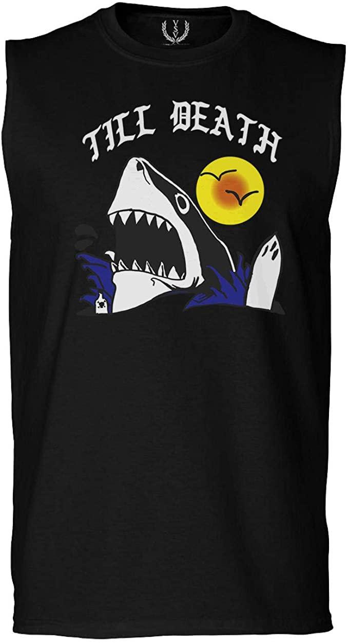 Front Shark Summer Vibe Cool Graphic Surf Till Death Society Men's Muscle Tank Sleeveles t Shirt