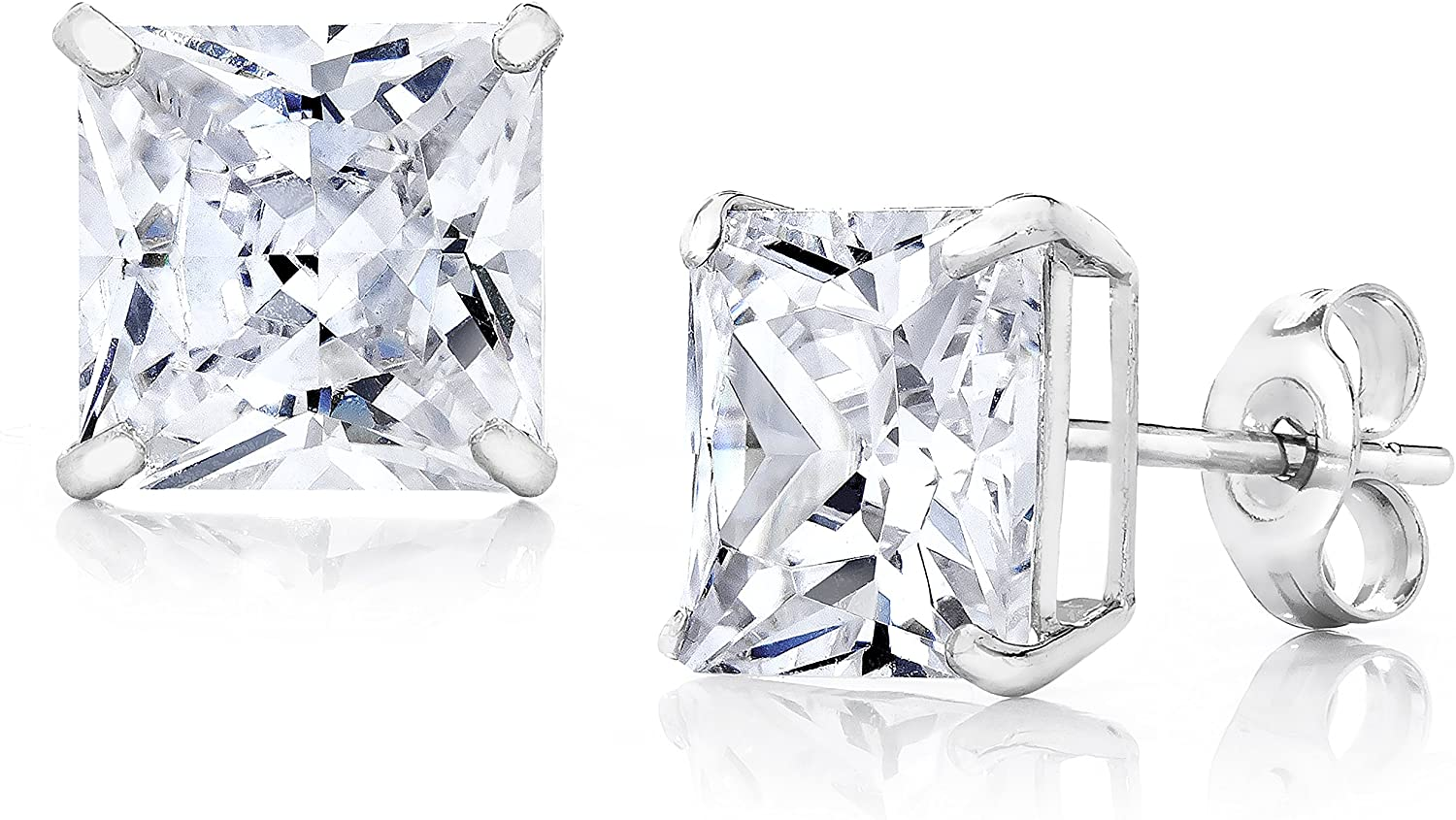 14K Gold 3MM-8MM Square Basket Setting CZ Stud Earrings - Available in White, Yellow, or Rose (White, 6)