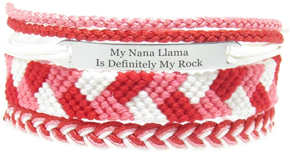 Miiras Family Engraved Handmade Bracelet - My Nana Llama is Definitely My Rock - Red - Made of Embroidery Thread and Stainless Steel - Gift for Granddaughter
