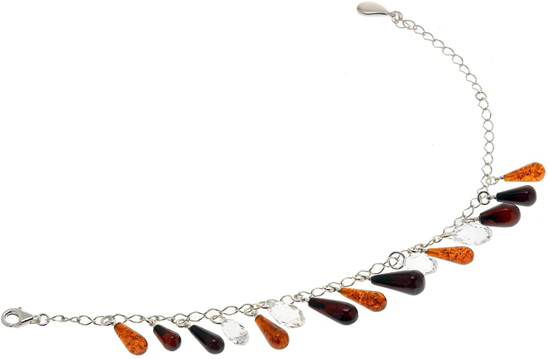 Creazioni Oro 925/1000 Silver Bracelet with Multicolor Natural Baltic Amber W1548