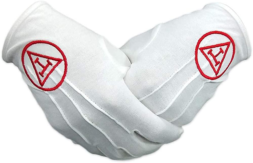 Masonic Royal Arch Embroidered Freemasons Cotton Gloves