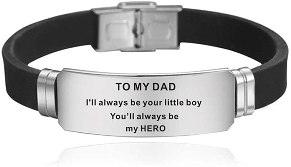 Bestay Father's Day Gift - Dad Gift from Son Daughter for Birthday, I Will Always Be Your Little Boy Girl, You Will Always Be My Hero Bracelet Wristband for Men