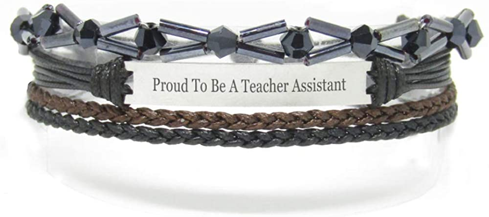 Miiras Job Engraved Handmade Bracelet - Proud to Be A Teacher Assistant - Black 8 - Made of Braided Rope and Stainless Steel - Gift for Teacher Assistant