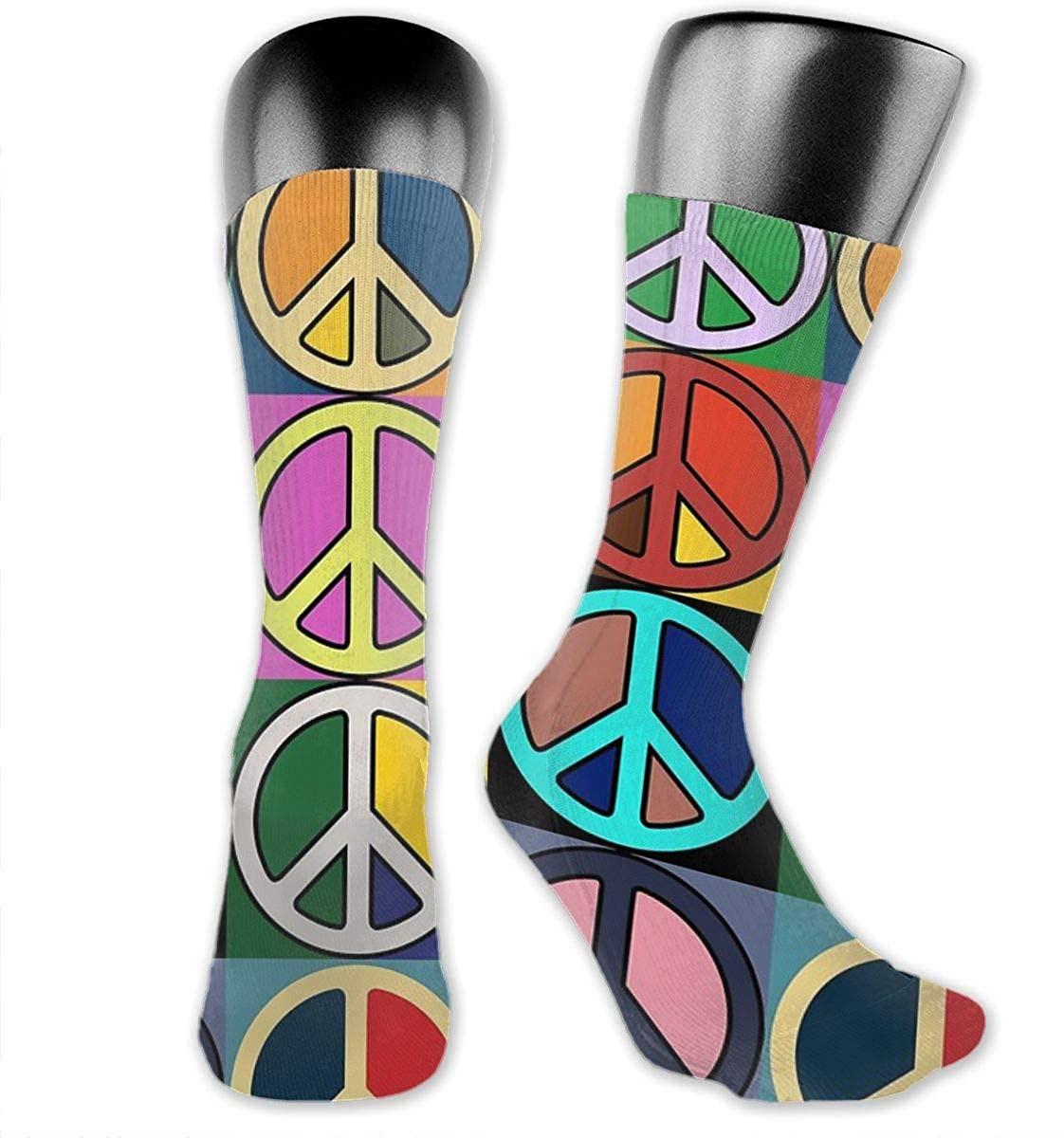 Unisex Crazy Funny Peace Mosaic Socks Colorful Running Travel Socks Novelty Casual Crew Socks