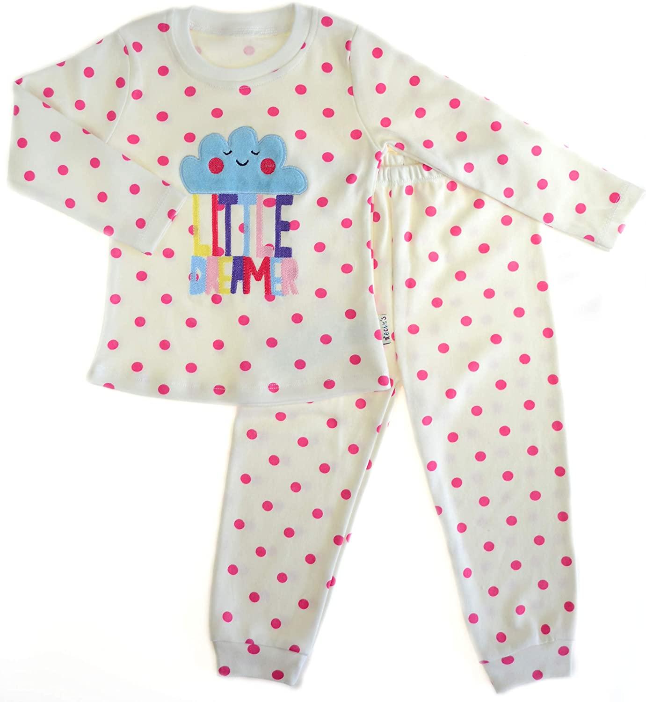Necix's Toddler Girl Long Sleeves Pajama Set. White Color and Pink Polka Dots.