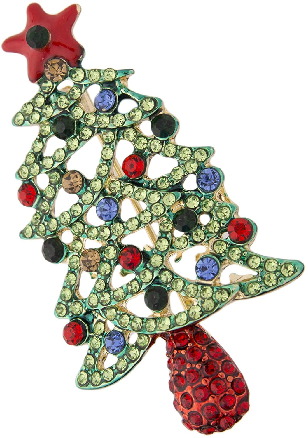 Lux Accessories Light Green Blue Red Rhinestone Red Christmas Tree Goldtone Fashion Pin