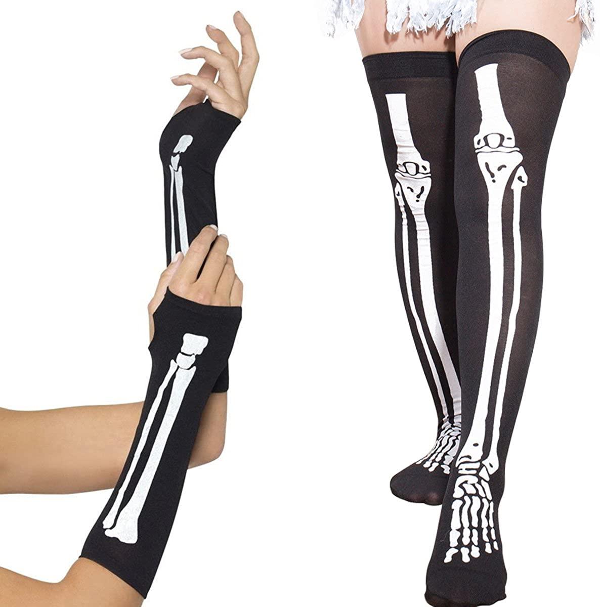 SIBOSUN Halloween Costume Women's Skeleton Fingerless Gloves & Stockings Party