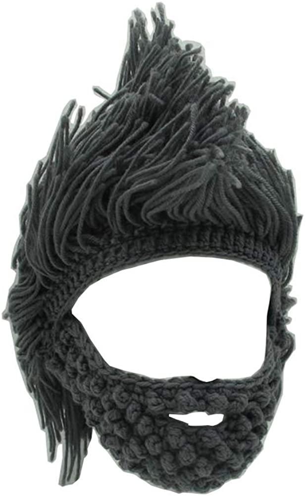 YEKEYI Kids Adult Beard Viking Knit Hat Barbarian Beanie Cap Handmade Knitted Funny Skull Cap