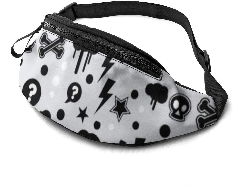 Lightning-skeletons-stars- rain pattern Fanny Pack for Men Women Waist Pack Bag with Headphone Jack and Zipper Pockets Adjustable Straps