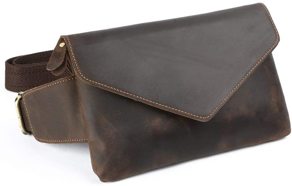 Fanny Pack Envelope Belt Bag For Women or Men Genuine Leather Sling Bag