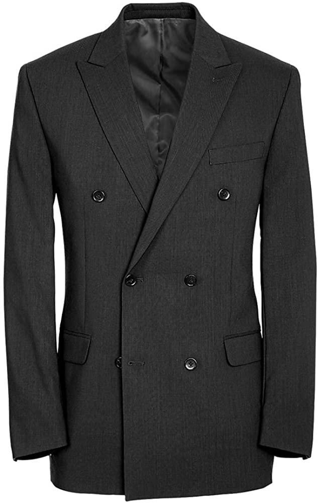 Paul Fredrick Men's Classic Fit Essential Wool Double Breasted Peak Lapel Jacket Black 46 Extra-Long RA1820J
