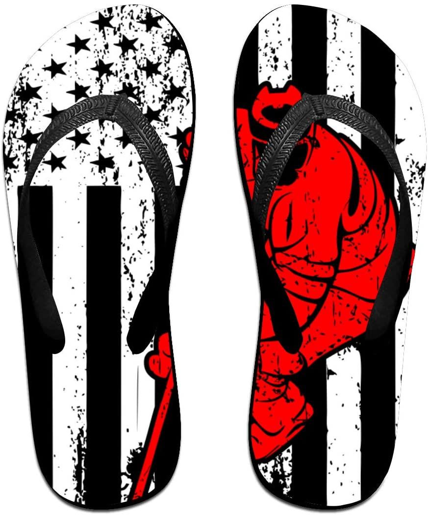 seaEagle Hockey Player Sports USA Flag Slipper Flip Flop Shower Sandals