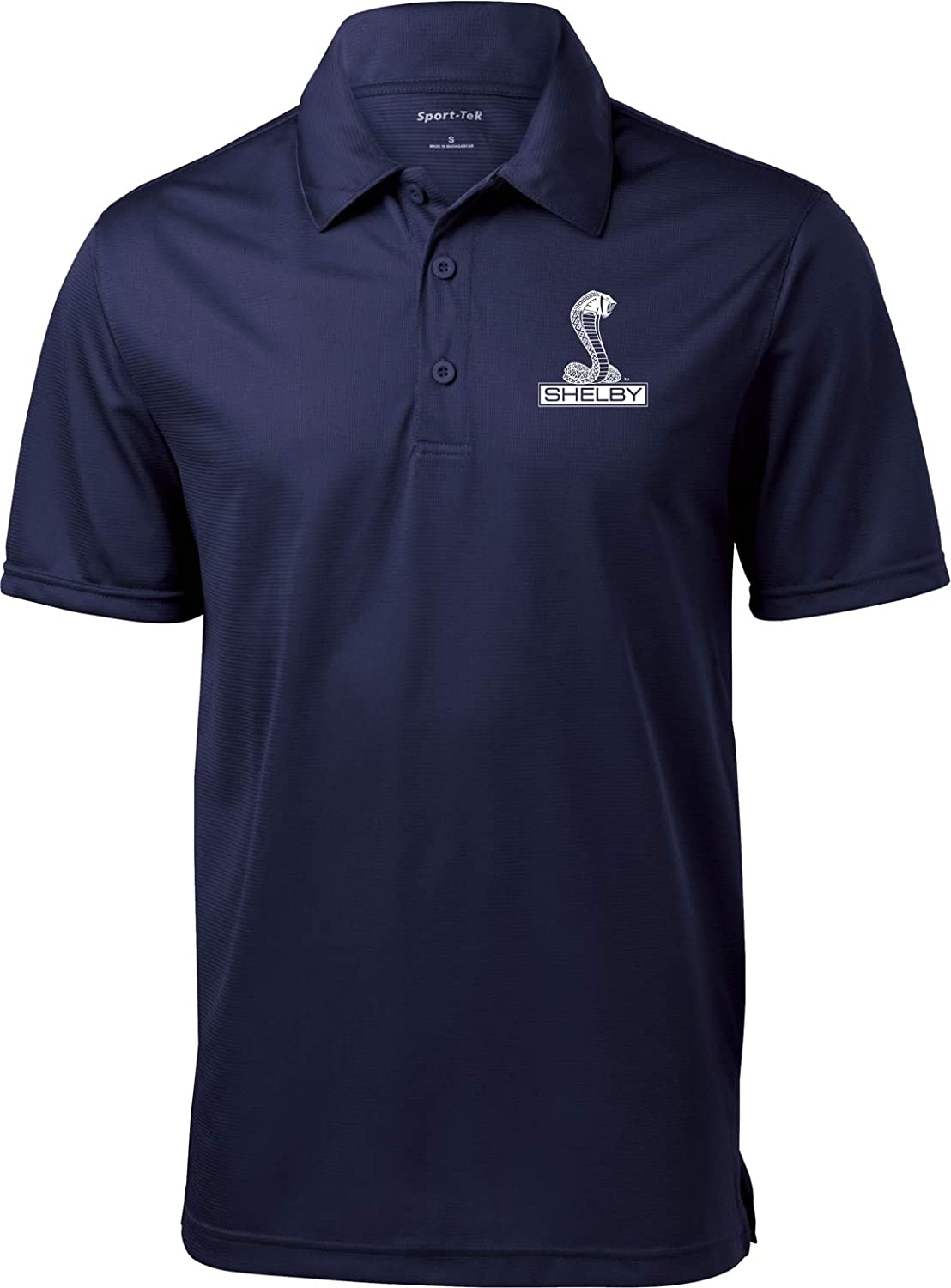Ford Shelby Cobra Pocket Print Textured Polo, Navy 4XL