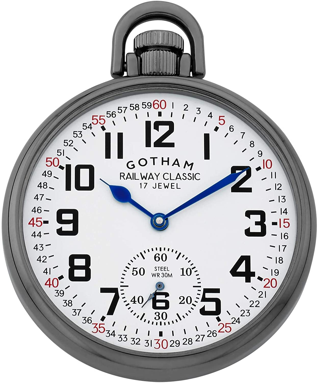 Gotham Men's Gun-Plated Stainless Steel Mechanical Hand Wind Railroad Style Pocket Watch # GWC14108B