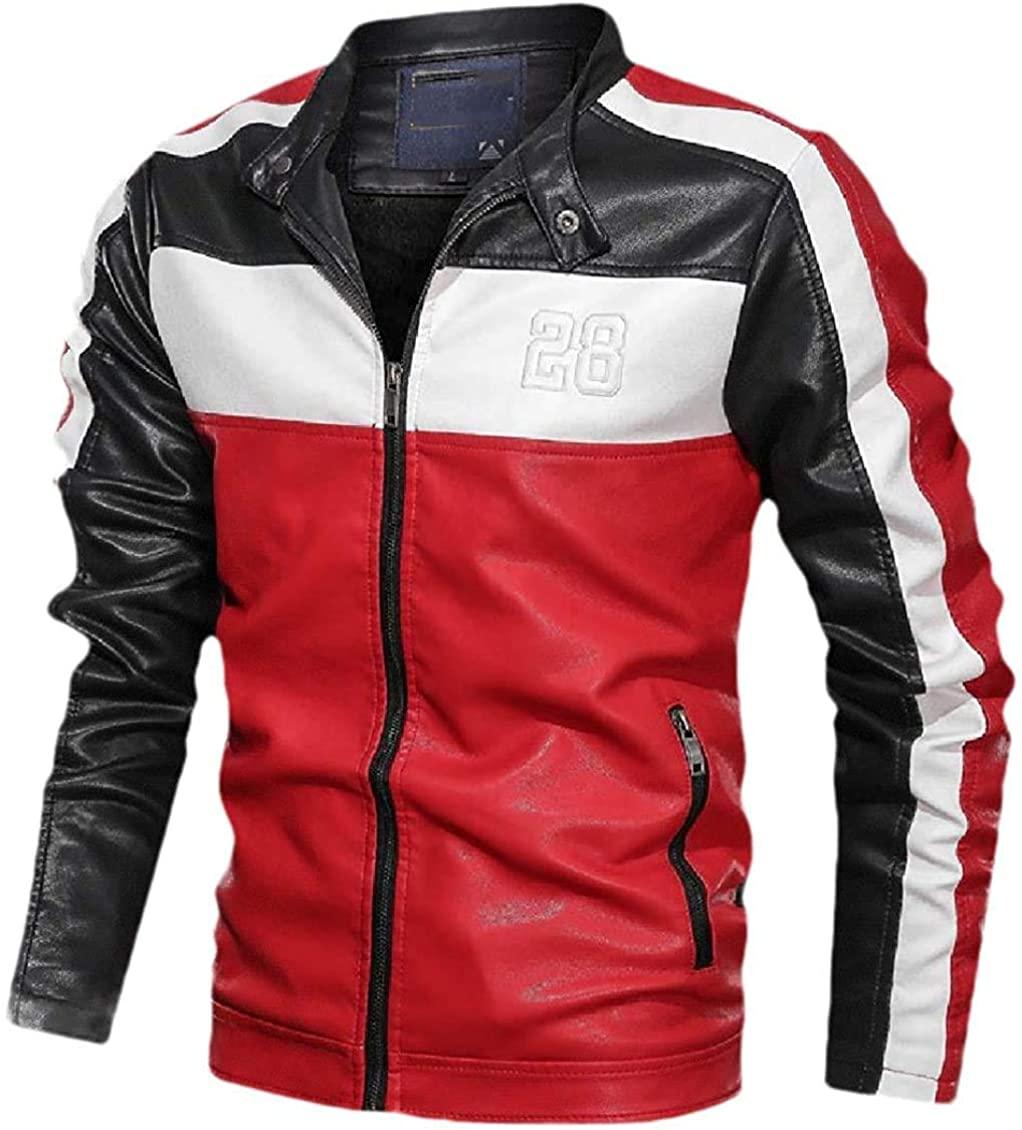 Aysselt Men Slim-Fit Motorcycle Biker Relaxed Fit Contrast Coat Jacket with Zips