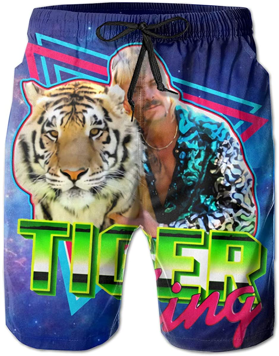 Joe Exotic Tiger King Men's 3D Printed Beach Shorts with Pockets Shorts Swim Trunks Quick Dry