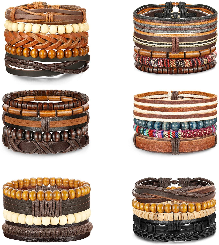 Jstyle 26-28Pcs Braided Leather Bracelet for Men Women Wooden Beaded Cuff Wrap Bracelet Adjustable A