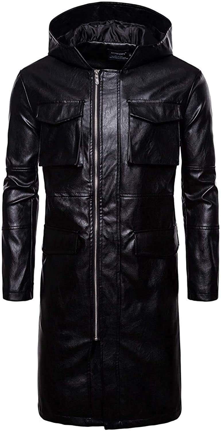 Men's Windproof Full-Length Attached Hooded Long Faux Leather Jacket Overcoat