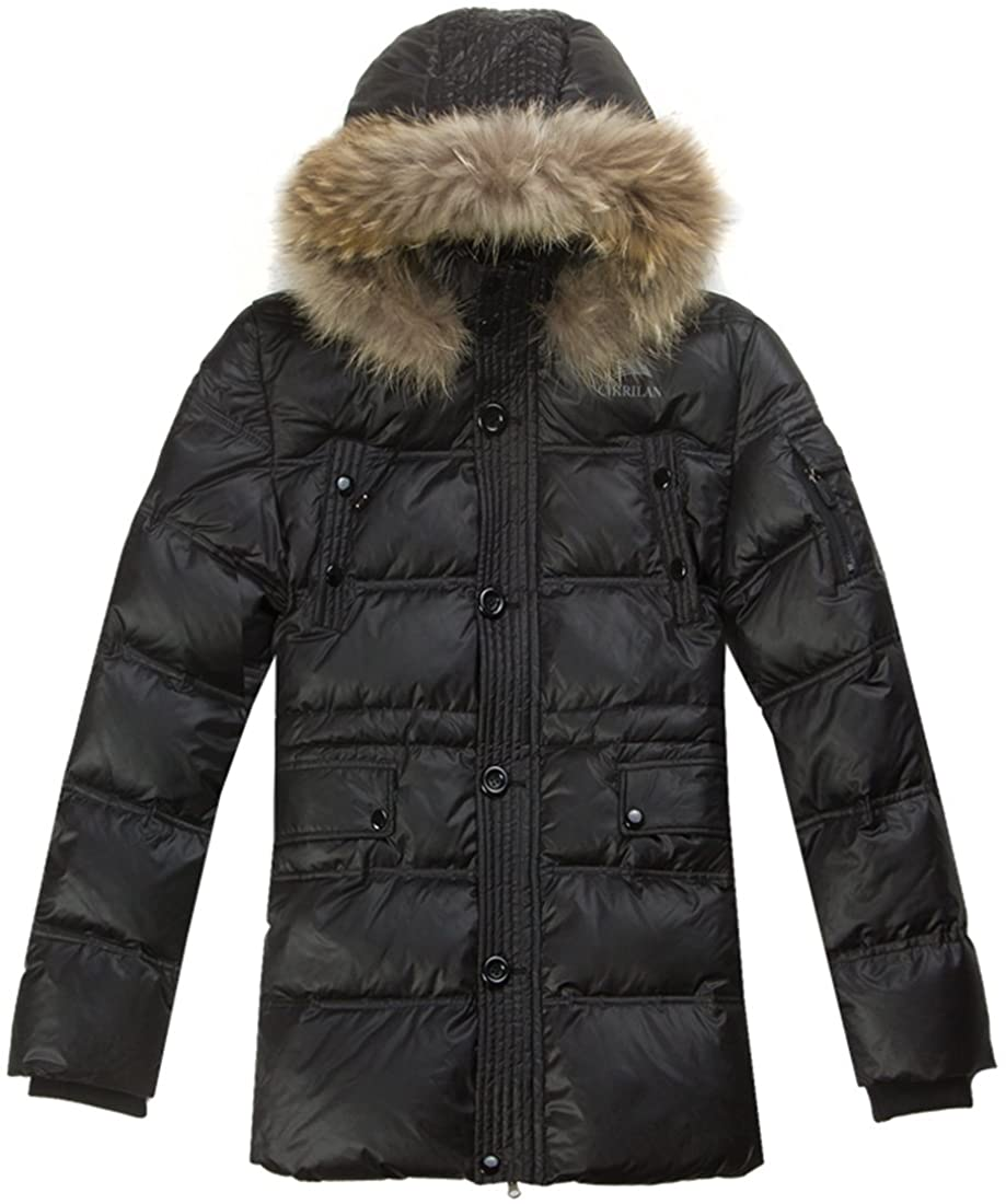 CIKRILAN Men's Thick Fur Collar Winter Overcoat Warm Down Parka Jacket Coat