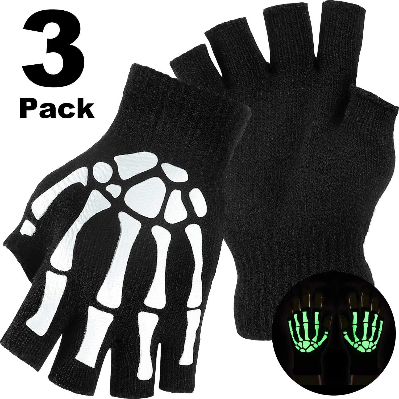 Tatuo 3 Pairs Halloween Stretch Knitted Mechanic Gloves Winter Warm Luminous Gloves