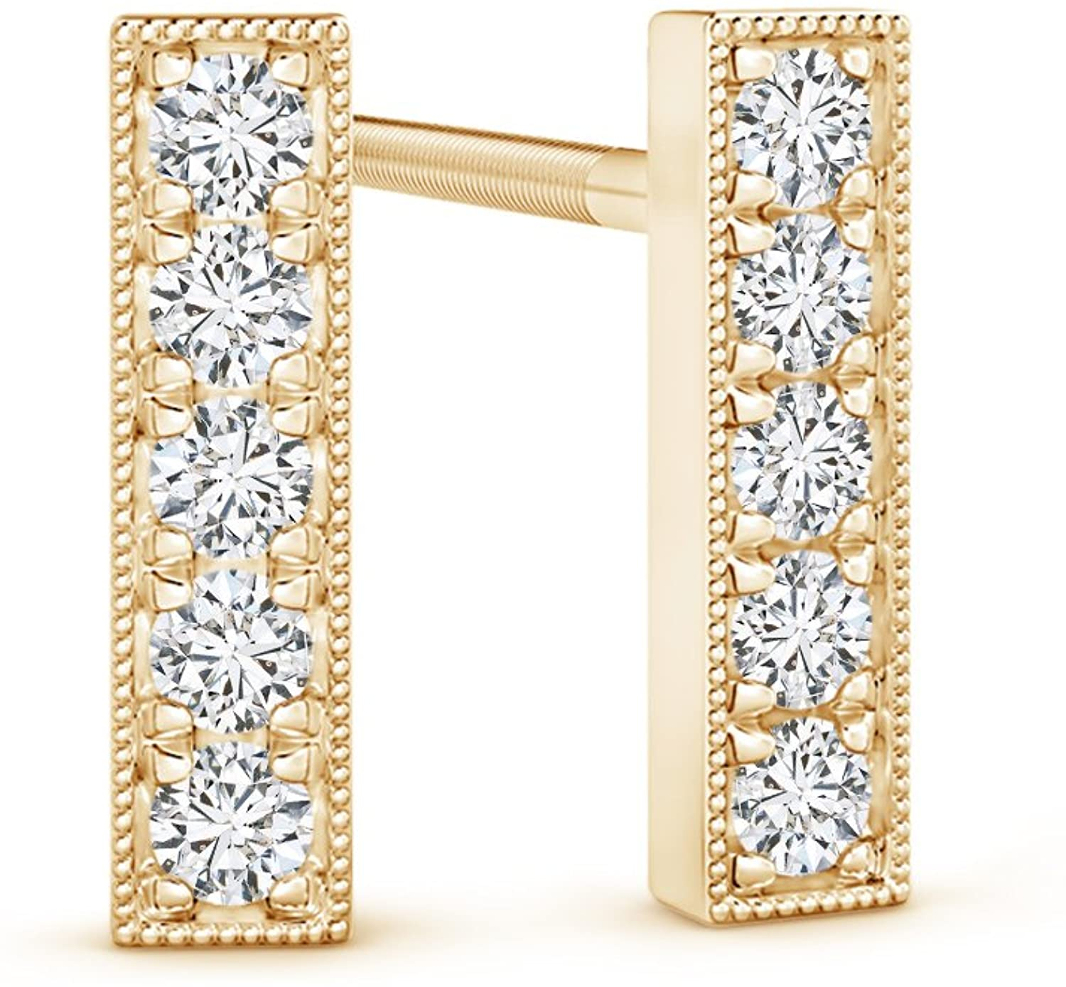 April Birthstone-Lab Grown Diamond Linear Bar Stud Earrings in 14k Solid Gold (H Color, SI2 Clarity)
