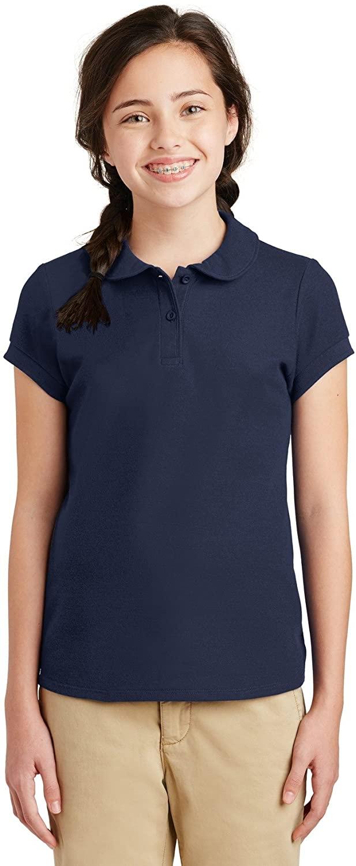 Port Authority Girls Silk Touch Peter Pan Collar Polo YG503 Navy XL