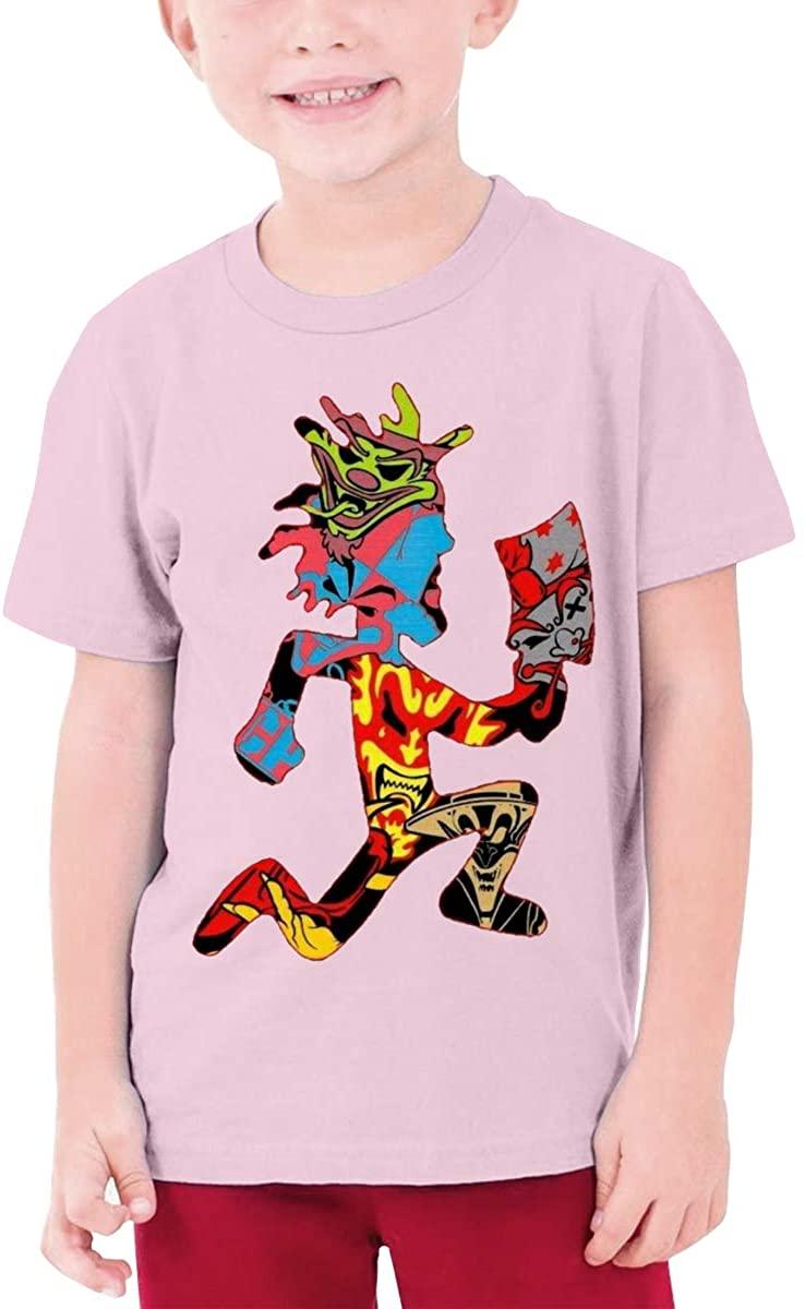 Boys and Girls Teens Short Sleeve T-Shirt Hatchetman ICP Unique Retro Design Pink