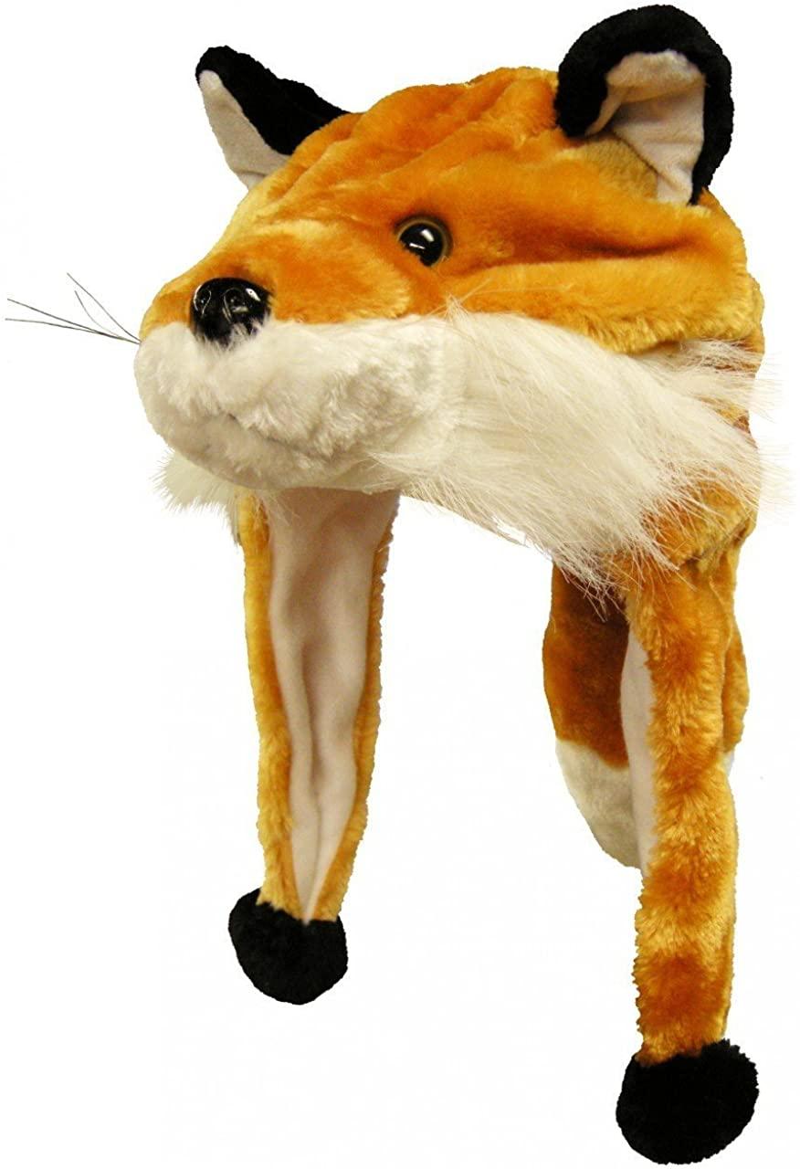 Plush Faux Fur Animal Critter Hat Cap - Soft Warm Winter Headwear (Wolf)