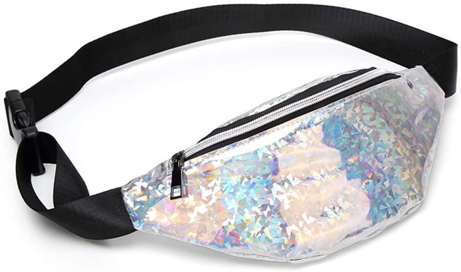 LOHONER Fashion Women Girls Waist Casual Holographic Fanny Pack Belt Zipper Chest Bag