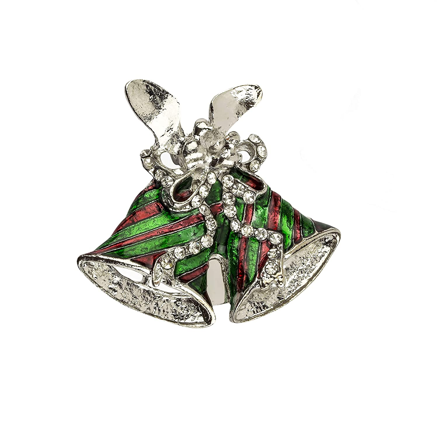 Lux Accessories Christmas Green Red Bell Silver Tone Crystal Rhinestone Pins