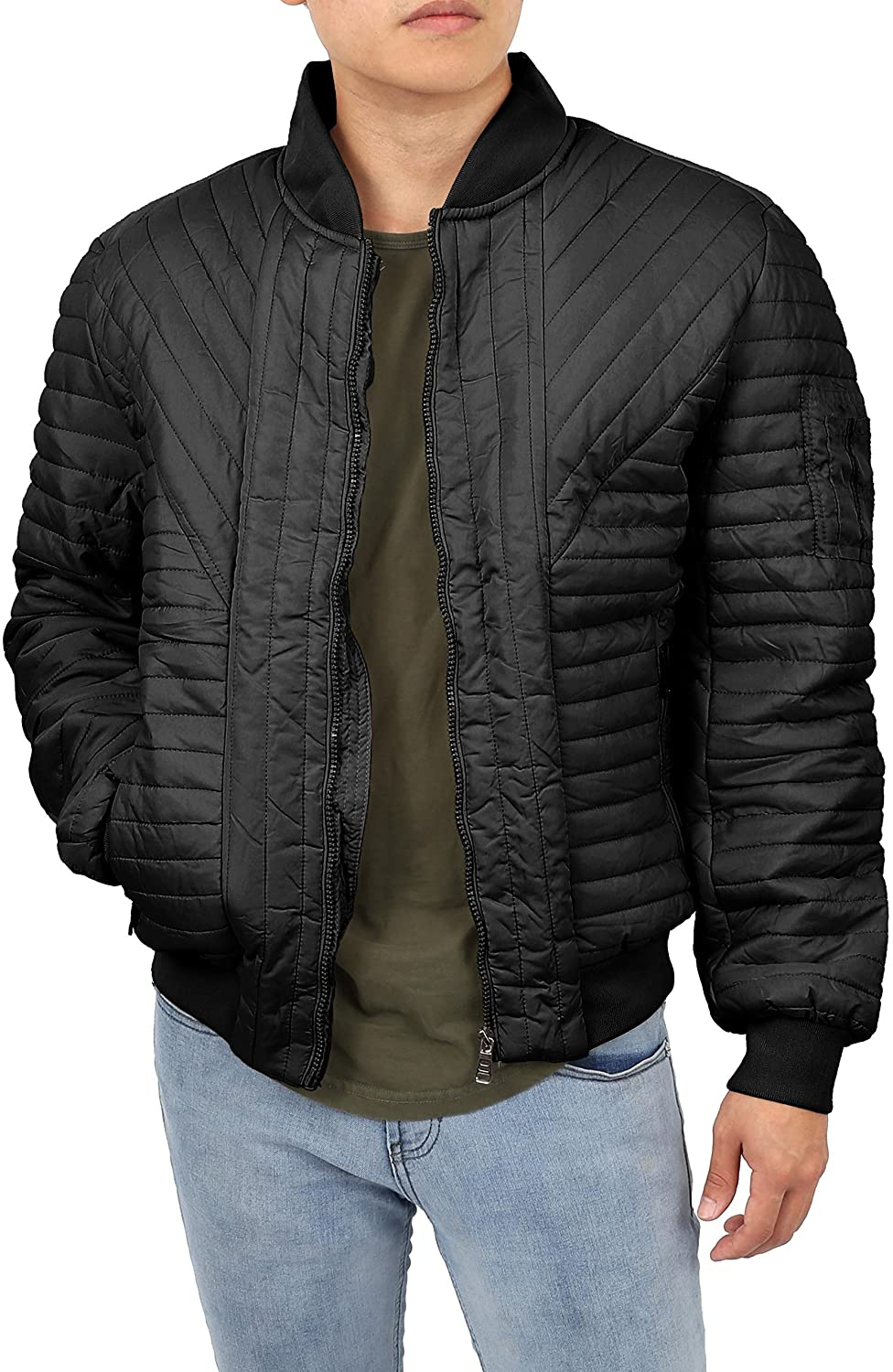 MX Mens Puffer Jacket Stylish Front Zip Quilted Padded Bomber