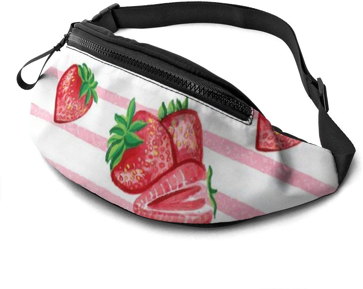 Strawberry Stripe Fanny Pack For Men Women Waist Pack Bag With Headphone Jack And Zipper Pockets Adjustable Straps
